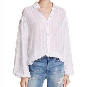 Free People White Solid Hidden Valley Button Down